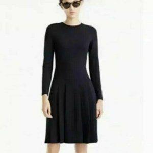 J Crew S 4 Black Ponte Pleated Flare dress long sl